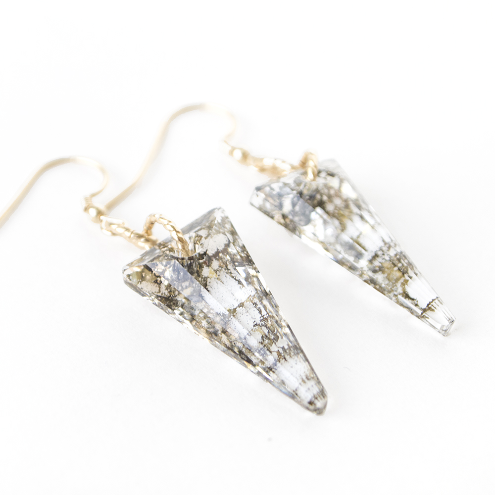 Swarovski Gold Spike Earrings