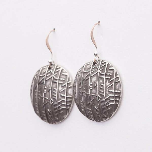 Round Oxidized Silver Disc Earrings