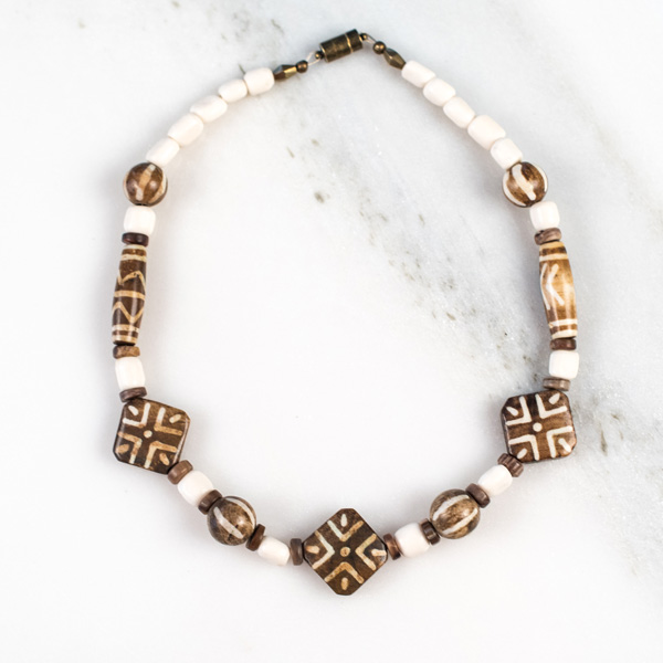 Multi Shaped Brown White African Beads With Small Bone Tubes Necklace